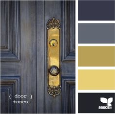 Gray paint and gold hardware with colour swatches