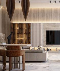 Classic Living Room, Living Room Modern, Contemporary Living Room Designs, 3d Living Room, Tv Wall Design, Floor Design, Home Room Design, Interior Design Living Room, House Design