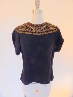 Beautiful 1940s Gold Corded and Sequined Blouse by VintageZipper