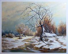 Téli hajnalon 40x50 cm olaj/farost ENE