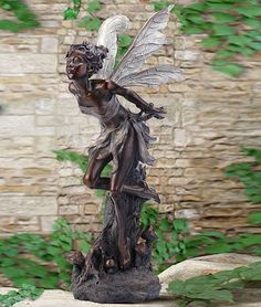 "Large Resin Fairy Statues | ... Fairy Statues, Sculptures and Figurines > 35"" Woodland Fairy Sculpture"