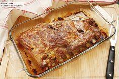 Receta de costillar de cerdo marinado al estilo ibicenco. Fotografías con paso a paso del proceso de elaboración. Sugerencia de presentación. Re...