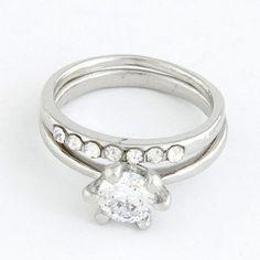 Memorial Silver Color Sparkly Zircon Combination Design Alloy Korean #Rings  www.asujewelry.com