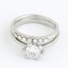 Memorial Silver Color Sparkly Zircon Combination Design Alloy Korean #Rings  www.asujewelry.com