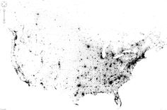 Amazing Map Is Made Up Of Everyone in the U.S. and Canada  Now this is something different: an interactive and zoomable map of the United States and Canada, made not from political boundaries or geographic landforms but rather of tiny dots — 341,817, 095 of them, to be exact — each one representing an individual person counted in the 2010 (US) and 2011 (Canada) censuses.