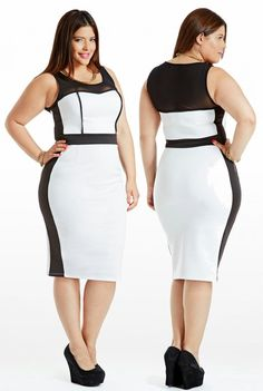 Curvy Woman White and Black Dress and Black High Heels Look Plus Size, Curvy Plus Size, Plus Size Model, Plus Size Dresses, Plus Size Outfits, Cute Dresses, Curvy Girl Fashion, Plus Size Fashion, Modelos Plus Size