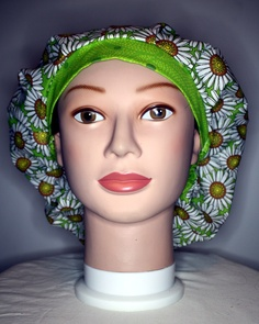 White Daisies Bouffant Surgical Scrub Hat by duehringphotocc, $5.00