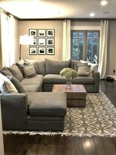 # Living Room Designs With Sectional Room & Board - Orson Sectional - Modern Sectionals - Modern Living Room Furniture Cozy Living Rooms, New Living Room, Apartment Living, Home And Living, Living Room With Sectional, Gray Sectional, Sectional Furniture, Modern Sectional, Interior Design Living Room Warm