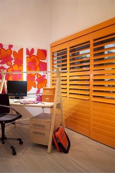 Orange office door shutters