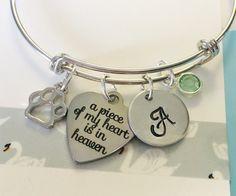 Rememberance Pet Bracelet / Silver Bracelet/ Pet Memorial Jewelry / Pet Remembrance Gift / Pet Loss / In Memory of Gift / Adjustable Bracele