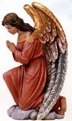 Demetz Angel Statue from Henninger's Religious Goods in Cleveland Cemetery Angels, Wooden Angel, Angel Images, Ange Demon, Mary And Jesus, Angel Statues, Black And White Painting, Funny Tattoos, Wedding Tattoos