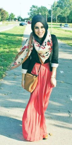 ways to wear my coral maxi skirt #1