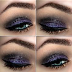 This night out look uses eye shadow in metallic purple and gunmetal. Lush eyelashes and a strong black line make this look more dramatic. See the product list and tutorial here.