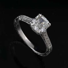 The absolute perfect ring. Cushion cut diamond, art deco style band. <3 <3 <3