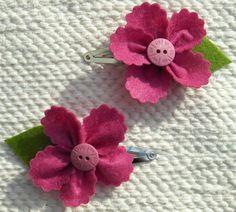 Flower Hair Clips Set of 2  Pink flower hair by CherubsGarden on etsy.