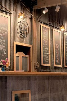 45 North Tasting Room - list of wines are posted on the chalk board Tin Walls, Metal Walls, Sheet Metal Wall, Corrugated Wall, Winery Tasting Room, Metal Bar, Wine Cellar, Restaurant Design, Coffee Shop