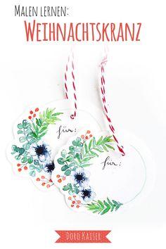 Malen Lernen mit Aquarellfarben: Geschenkanhänger mit Weihnachtskranz   www.dorokaiser.online.de