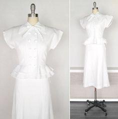 1940s Dress Set / White Cotton 1940s Wedding by myVintageValentine