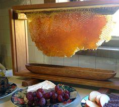 Glass and Fine Wood Honey Comb Buffet Holder