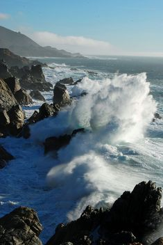 rugged beauty of the Big Sur coast...California - one of the prettiest crashing wave shots - like no where else http://papasteves.com/blogs/news