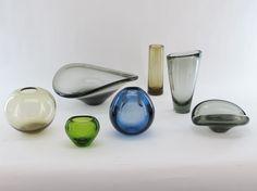 Per Lutken glass vessels Glass Vessel, Glass Art, Colored Glass, Scandinavian, Gemstone Rings, Objects, Vase, Ceramics, Antiques