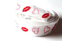 5 yards 7/8  Love & Kisses Fold Over Elastic by wholesaleflowers, $5.00