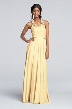 Why choose between ladylike lace and silky mesh? This long mesh and lace bridesmaid dress has both, plus a fun halter neckline and ribbon waistband.  Lace halter style bodice.  Long floor length mesh skirt provides lots of comfort.  Fully lined. Imported. Dry clean only. To protect your dress, try our Non Woven Garment Bag.