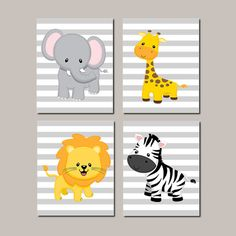 JUNGLE Nursery WALL ART Decor Elephant Giraffe Lion Zebra Baby Boy Nursery Picture Zoo Animals Baby Shower Gift Set of 4 Prints Or Canvas - Choose Your Background Colors! Stripe, Chevron or Polka Dot Background Available!  ★Includes 4 pieces of wall art Available in PRINTS or CANVAS (see below)  ★SIZING OPTIONS Available from the drop down menu above the add to cart button with prices  ★PRINT OPTION Available sizes are 5x7, 8x10, & 11x14 (inches). Prints are created digitally and printed…