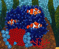closeup of clownfish amongst anemone mosaic mural created in ceramic tiles by Brett Campbell Mosaics