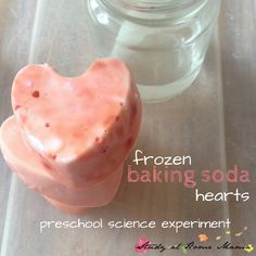 Valentine's Day preschool science experiment with baking soda and vinegar reactions; teaching kids how to follow the scientific method and use a baster