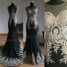 Harvey Bridal Backless Gold Beads Sexy and gold lace Long Prom Dresses 2015 New Arrival Mermaid  Evening dresses Black Crystal Beadb by HarveyBridal on Etsy