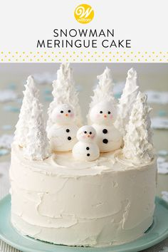 Celebrate a winter birthday, wedding or baby shower with this Winter Wonderland Snowman Cake. Decorated with meringue cookie snowmen and candy-coated trees, this winter celebration cake is a fun challenge for beginning bakers and decorators. Christmas Cake Designs, Christmas Cake Decorations, Holiday Cakes, Christmas Treats, Christmas Baking, Christmas Parties, Birthday Decorations, Icing Decorations, Candy Decorations