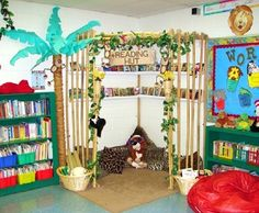 Reading corner. I really like this reading corned and think it would be great to have in the classroom. Students could read a book in this nook during center time. They will feel comfortable and happy to be in the reading hut reading a book.