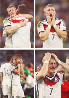 Literally bleeding for his team...Bastian Schweinsteiger after the World Cup.  Love that it's Klose he's hugging in the pictures.