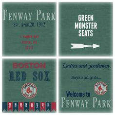 Handmade Coasters set of 4. Fenway Park, Boston Massachusetts.