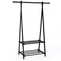 Organize your home with this SONGMICS modern 2-Tier Garment Rack. It is constructed from high quality thickened black Metal Tube with frosted surface, ABS and PP Plastic Connectors that can hold sweaters, lightweight jackets, scarves, backpacks and totes on the top bar, or you can put storage... more details available at https://furniture.bestselleroutlets.com/entryway-furniture/coat-racks/product-review-for-songmics-black-metal-coat-rack-2-tier-garment-drying-rack-entryway-o