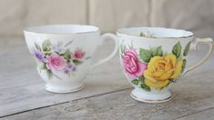 Vintage English Shabby Chic Rose Teacups by SycamoreVintage