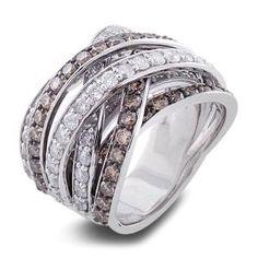 Malakan Jewelry - Platinum-silver Ladies Treated Brown Diamond Band 78605A1