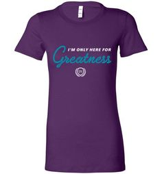 Are you striving for Greatness? This I'm Only Here for... will keep you energized and inspired! Get yours now at http://impowerapparel.com/products/im-only-here-for-greatness-ladies-t-shirt?utm_campaign=social_autopilot&utm_source=pin&utm_medium=pin