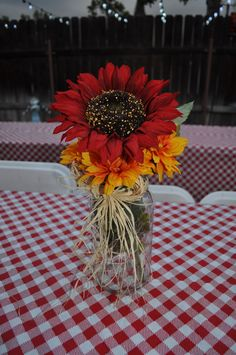 """I Do""  BBQ, Mason Jar Centerpiece, Sunflower"