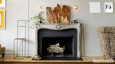 Mantels can define a space with their architectural interest, but the hearth can drain a room visually – it's a big, black hole. A stack of wood ready for a fire will help fill it out. In the spring and summer, try beautiful white birch logs for a lighter look. Design by Michael Formica   - HouseBeautiful.com