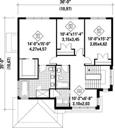 Two-storey house - 21672 Town House Floor Plan, Dream House Plans, Grand Hall, Two Storey House, Version Francaise, Surface Habitable, Contemporary Style Homes, Family Bathroom, Entrance Doors