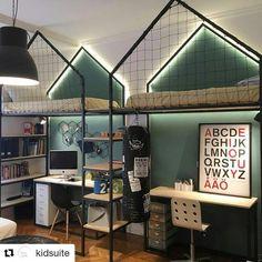 """428 curtidas, 11 comentários - Quartos e Brinquedotecas (@uebaa_design) no Instagram: """"{Inspiração}  Cataploft 😍😍😍 Com pegada industrial !  Via @kidsuite  #uebaa #UêbaaDesign…"""" #kidsbedroomsets"""