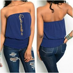 """NWT Navy Strapless Charmed Top New with tags, navy strapless top with attached charms.  Brand: Miss Avenue. Size large. Bust up to 38. Waist up to 34. Smocked waist. When laying flat, length 18"""", chest 18"""". 100% Polyester. No rips, tears, flaws, or defects. Comes from a smoke free home. No trades, thank you. Miss Avenue  Tops Tank Tops"""