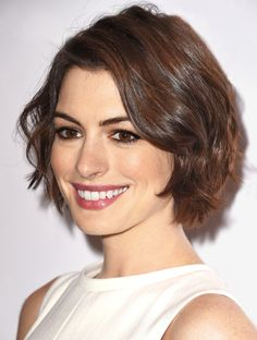 """""""This modern bob is really wearable and flattering for women of any age, or with any face shape,"""" says stylist Adir Abergel, who tends to Anne Hathaway's hair. With a classic bob, the front is one to two inches longer than the back, but you can play with those proportions—both Hathaway's and Kristen Wiig's cuts are more or less the same length all around."""