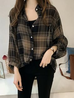 Women's Shirt Turn Down Collar Long Sleeve Top Slim Fit Dress Pants, Korean Outfits, Cute Casual Outfits, Aesthetic Clothes, Aesthetic Fashion, Korean Fashion, Casual Asian Fashion, Long Sleeve Tops, Fashion Outfits