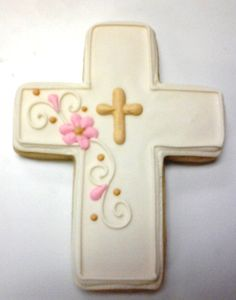 Cross Cookie Favors for Baptism, Confirmation Cross Cookies, Religious Party Favor Cookies, First Communion Cookie Favors, Cross Cookies Baby Cookies, Iced Cookies, Easter Cookies, Fun Cookies, Cupcake Cookies, Sugar Cookies, Christmas Cookies, Decorated Cookies, Flower Cookies
