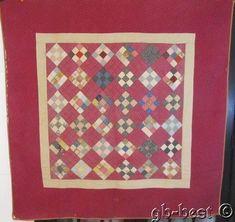 Farmhouse PA c 1890s Nine Patch ANTIQUE Quilt Cranberry Red