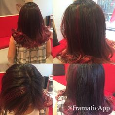 Kids have fun @royteeluck salon@michelefury gives Lucia the  marsel red the color of the season @handsomehippie  gives her a style #balayage #red hair #ombre #highlights #hairpainting @modernsalon @beautylaunchpad @joico  @pravana  red