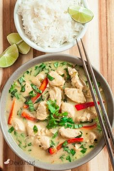 Thai Green Curry chicken: 4 TB cooking oil 1 onion, peeled and sliced into thin strips 6 fresh garlic cloves, minced 2 TB fresh ginger, grated 3 stalks lemongrass, inner white parts only, thinly sliced 8 TB green curry paste 2 cans (14 oz each) Asian coconut milk, unsweetened 2 cups regular, high quality chicken broth 6 TB Asian fish sauce 2 TB palm sugar (brown sugar can be subbed if needed, but palm sugar is best) 2 TB freshly squeezed lime juice 3 lbs boneless chicken thighs or breast…
